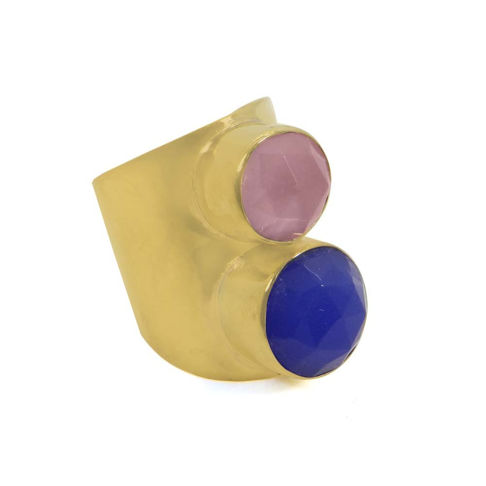 Blue & Rose Chalcedony Gold Plated Adjustable Bezel Cuff Ring