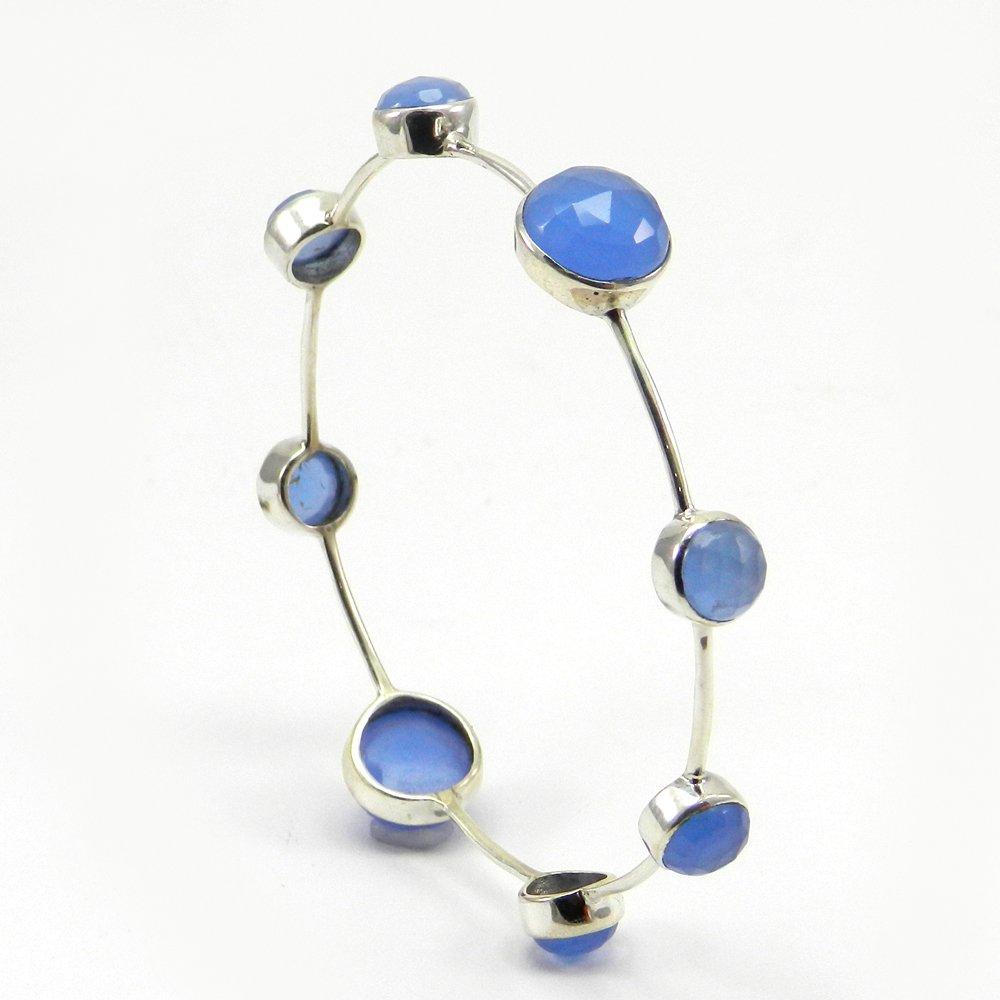 Blue Chalcedony 925 Sterling Silver Designer Bezel Bangle