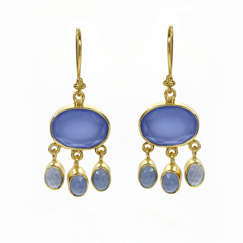 Blue Chalcedony Gold Plated 925 Silver Dangle Earrings