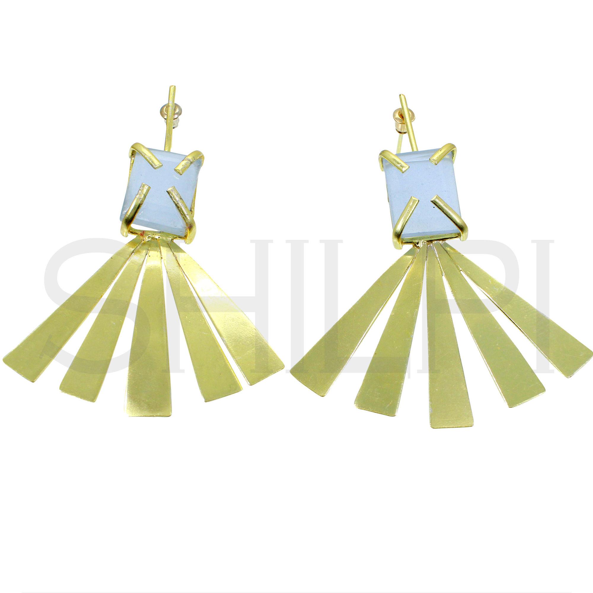 Blue Chalcedony Gold Plated Handmade Stud Earrings