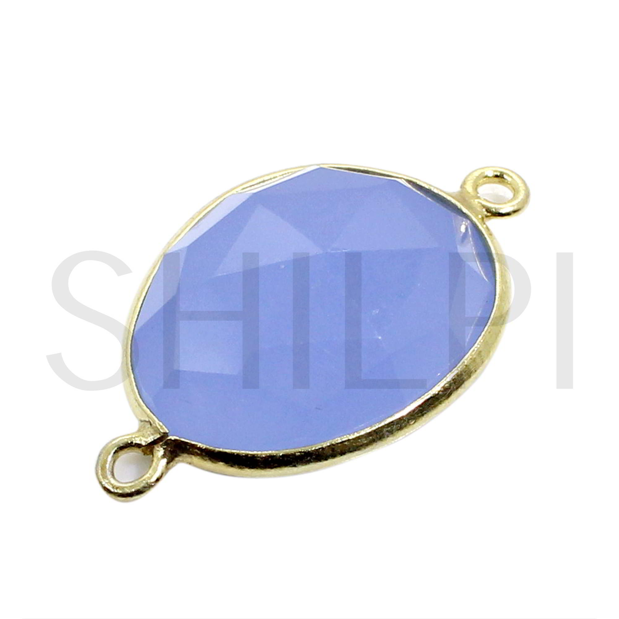 Blue Chalcedony Gold Plated Silver Double Loop Connector