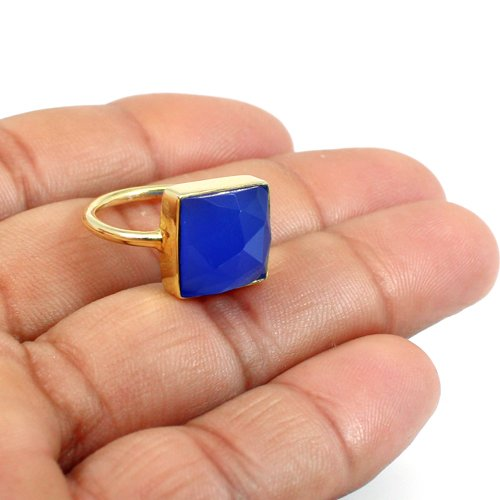 Blue Chalcedony Ring 925 Sterling Silver Ring Gold Plated Ring