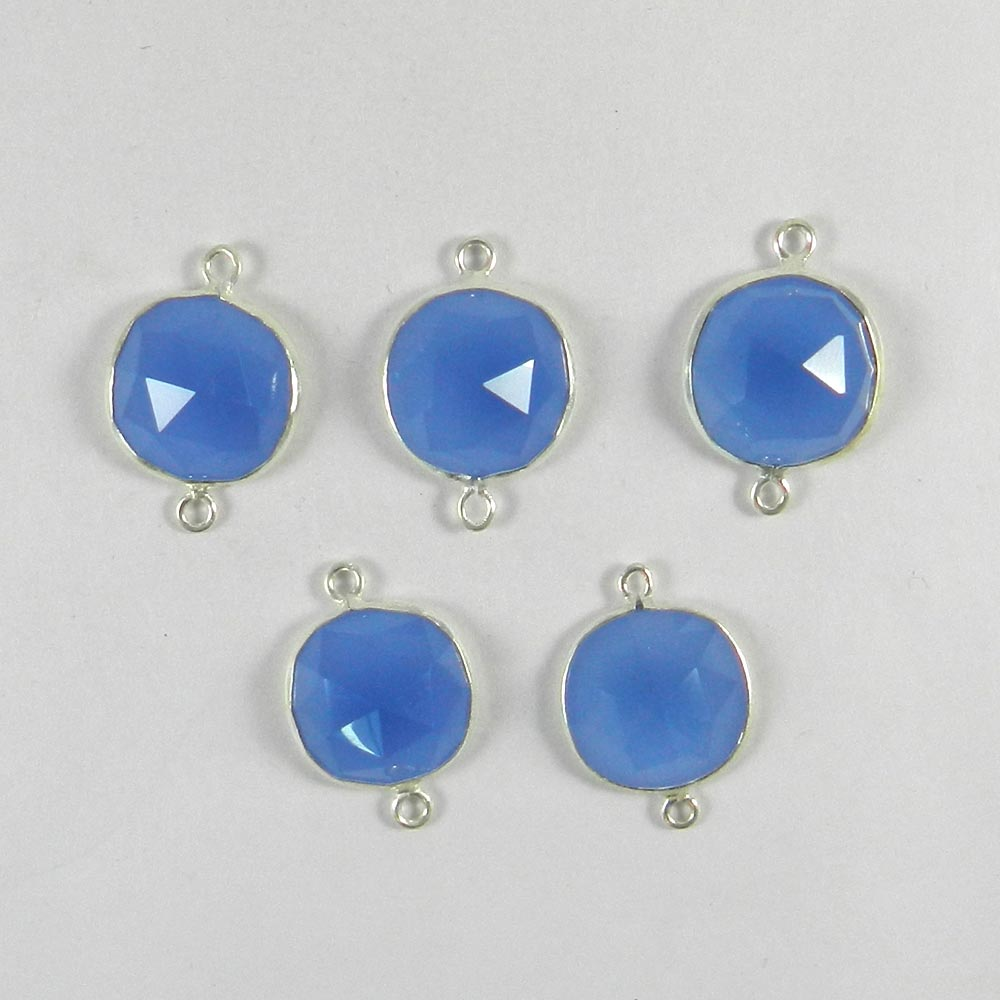 Blue Chalcedony Round 22x15mm 925 Sterling Silver Double Loop Connector