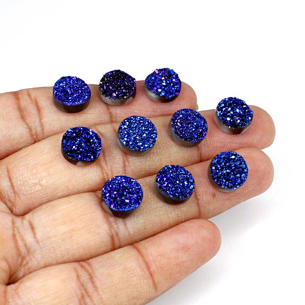Blue Coated Druzy 10x10mm Round 69 Cts 20 Pcs Lot Loose Gemstone