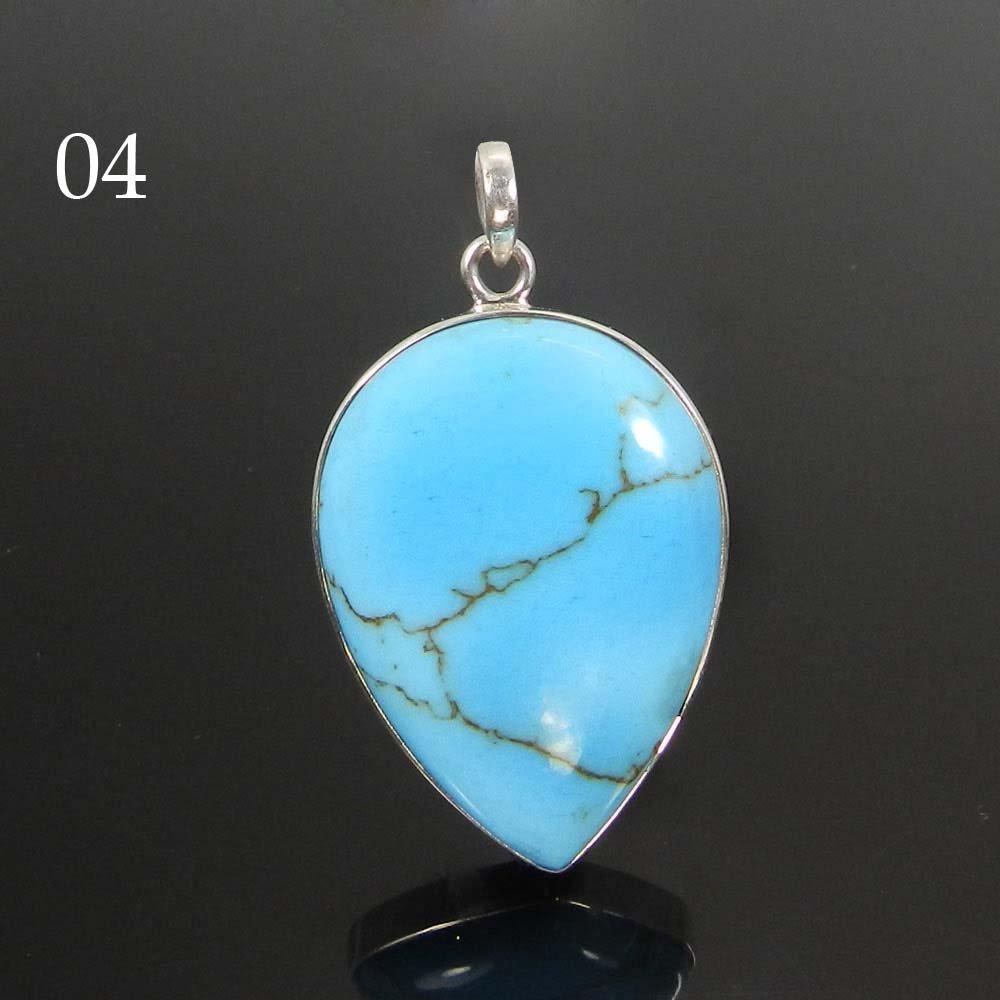 Blue Copper Turquoise 925 Sterling Silver Designer Bezel Set Pendant