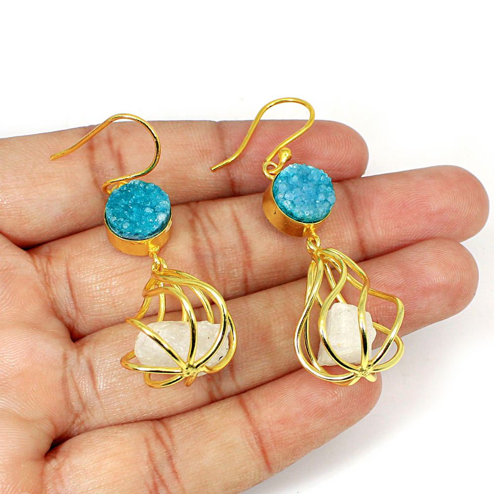 Blue Druzy & Rainbow Moonstone Rough Gemstone Brass Vermeil Designer Earring