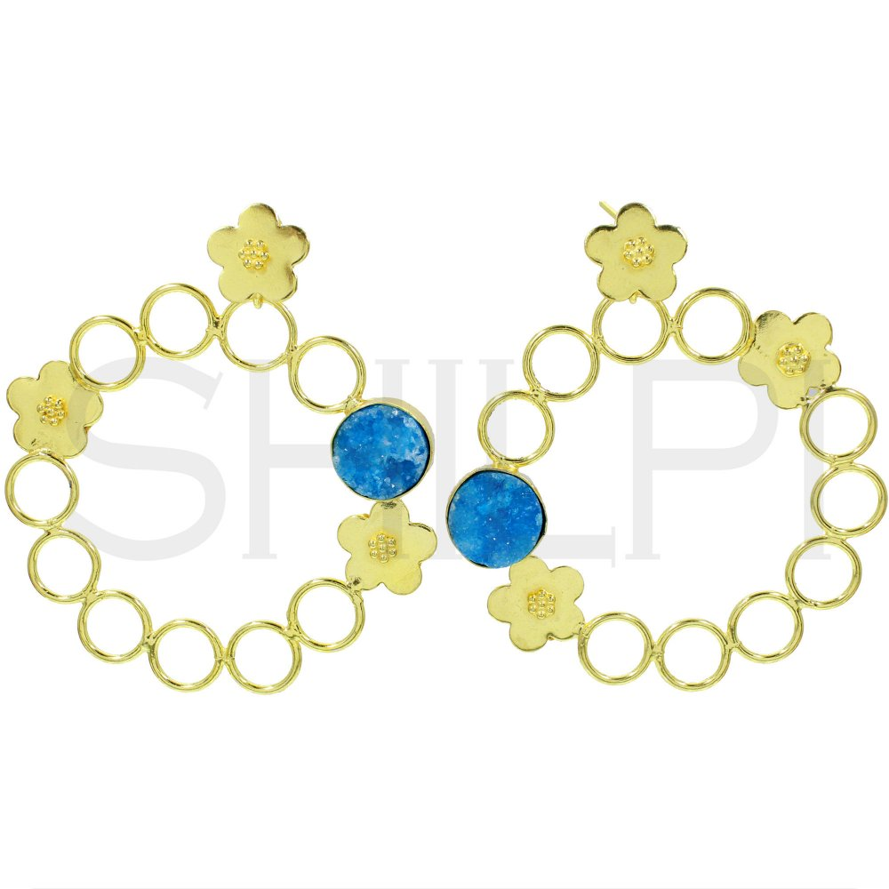 Blue Druzy Gold Plated Flower Design Circle Earrings