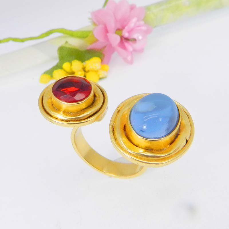 Blue Hydro & Red Hydro Gold Plated Adjustable Bezel Set Ring