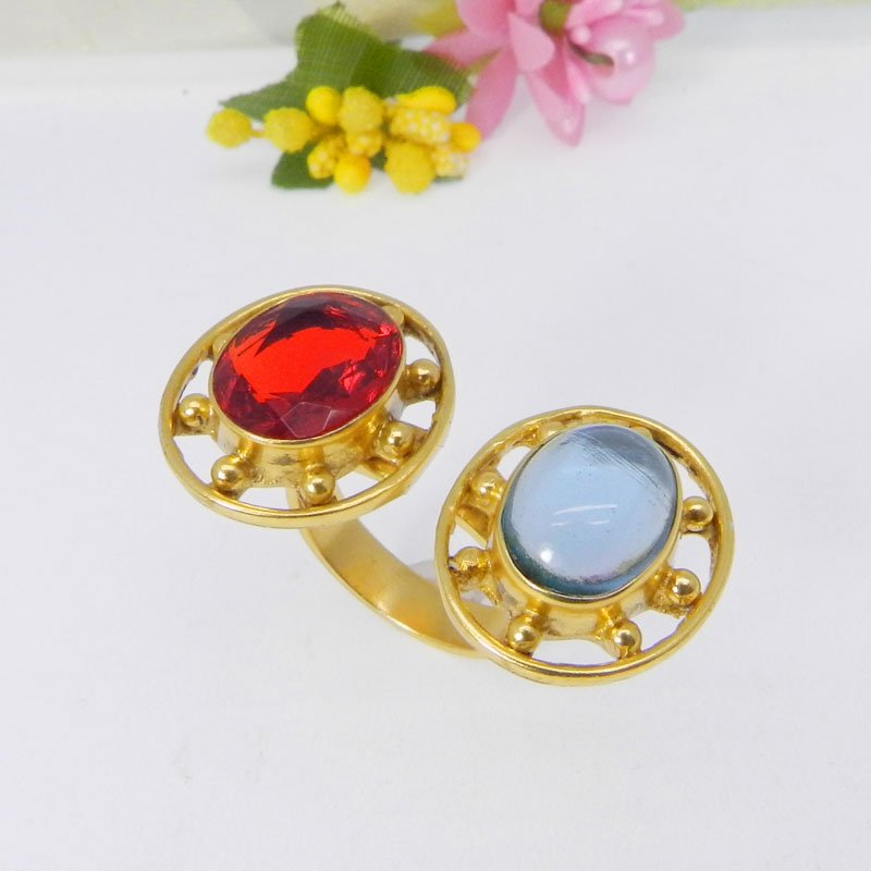 Blue Hydro & Red Hydro Gold Plated Designer Adjustable Ring
