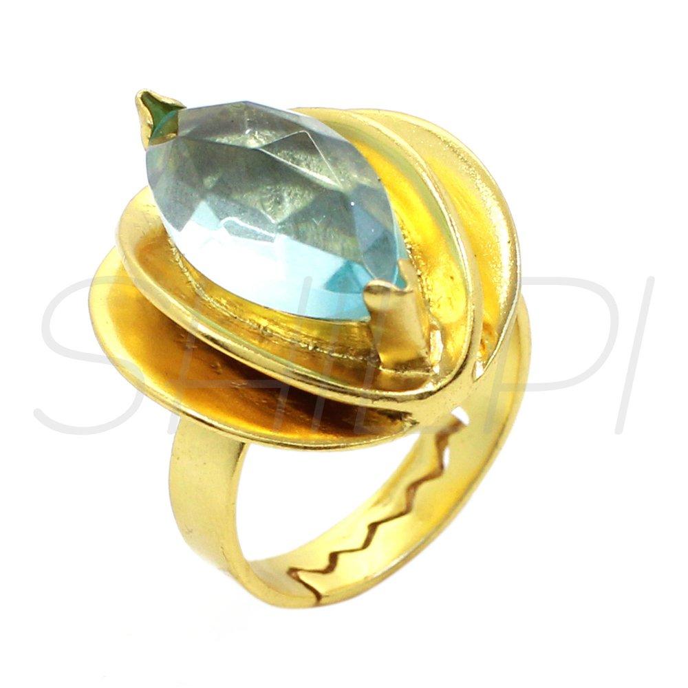 Blue Quartz Gold Plated Designer Bezel Set  Adjustable Ring