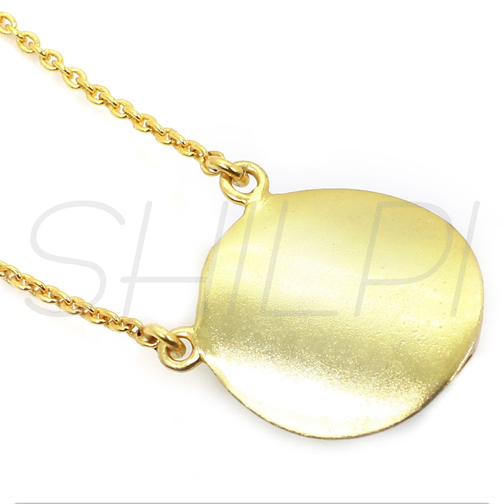 Blue Quartz Gold Plated Long Chain Handmade Necklace