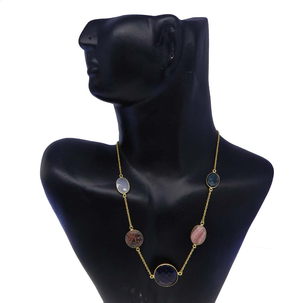 Blue Sunstone,Obsidian,Rhodochrosite,Moss Agate Gold Plated Long Chain Necklace