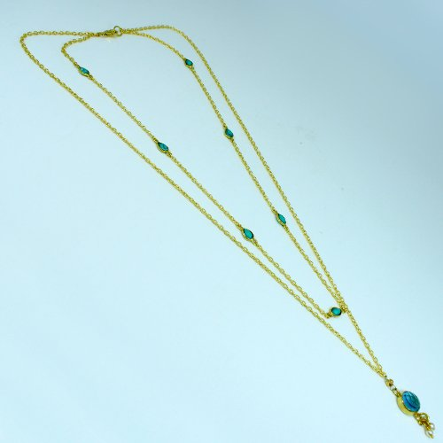 Blue Topaz Hydro & Tibetan Turquoise Necklace Solid 925 Sterling Silver Necklace Gold Plated Necklace