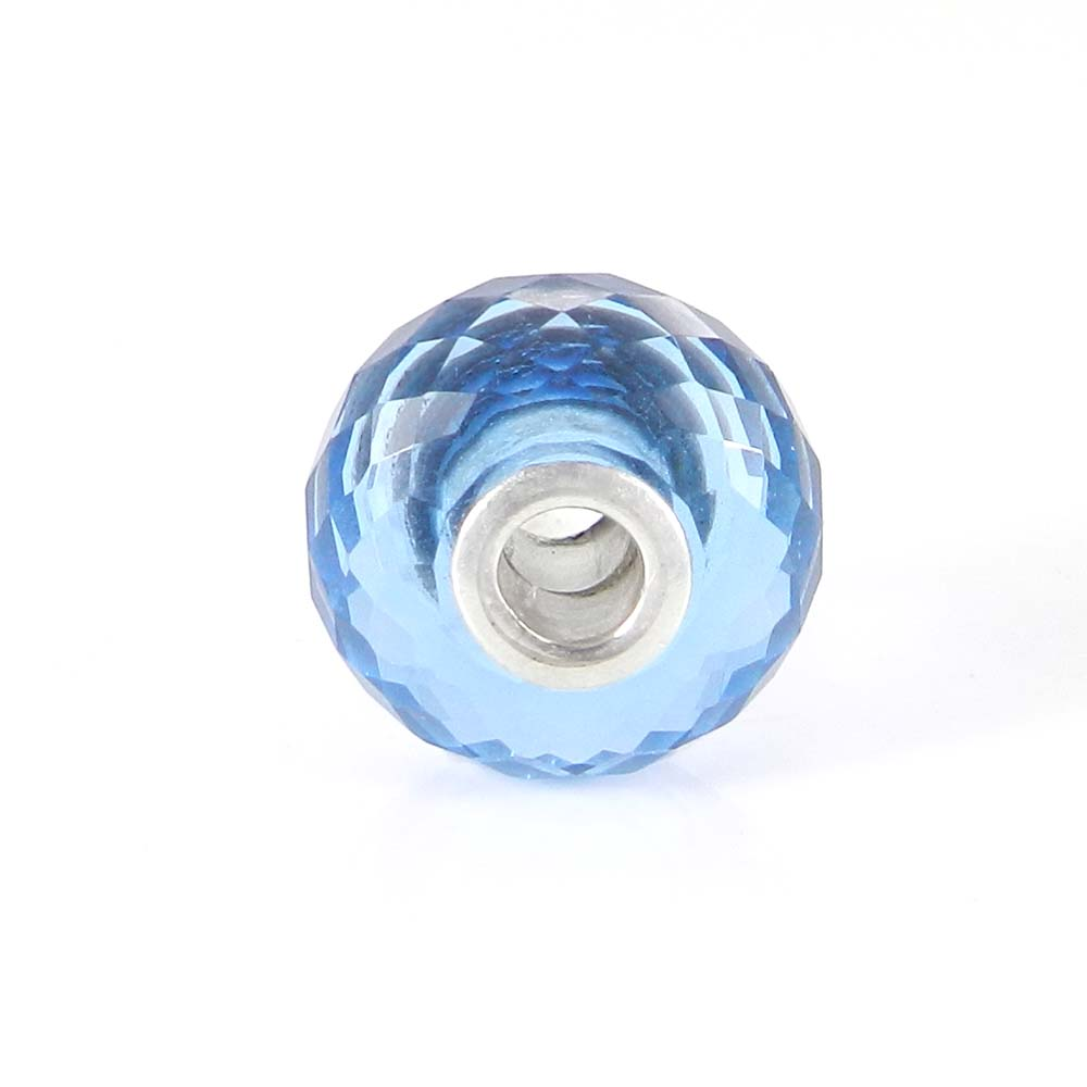 Blue topaz hydro big hole gemstone silver core beads for earring making