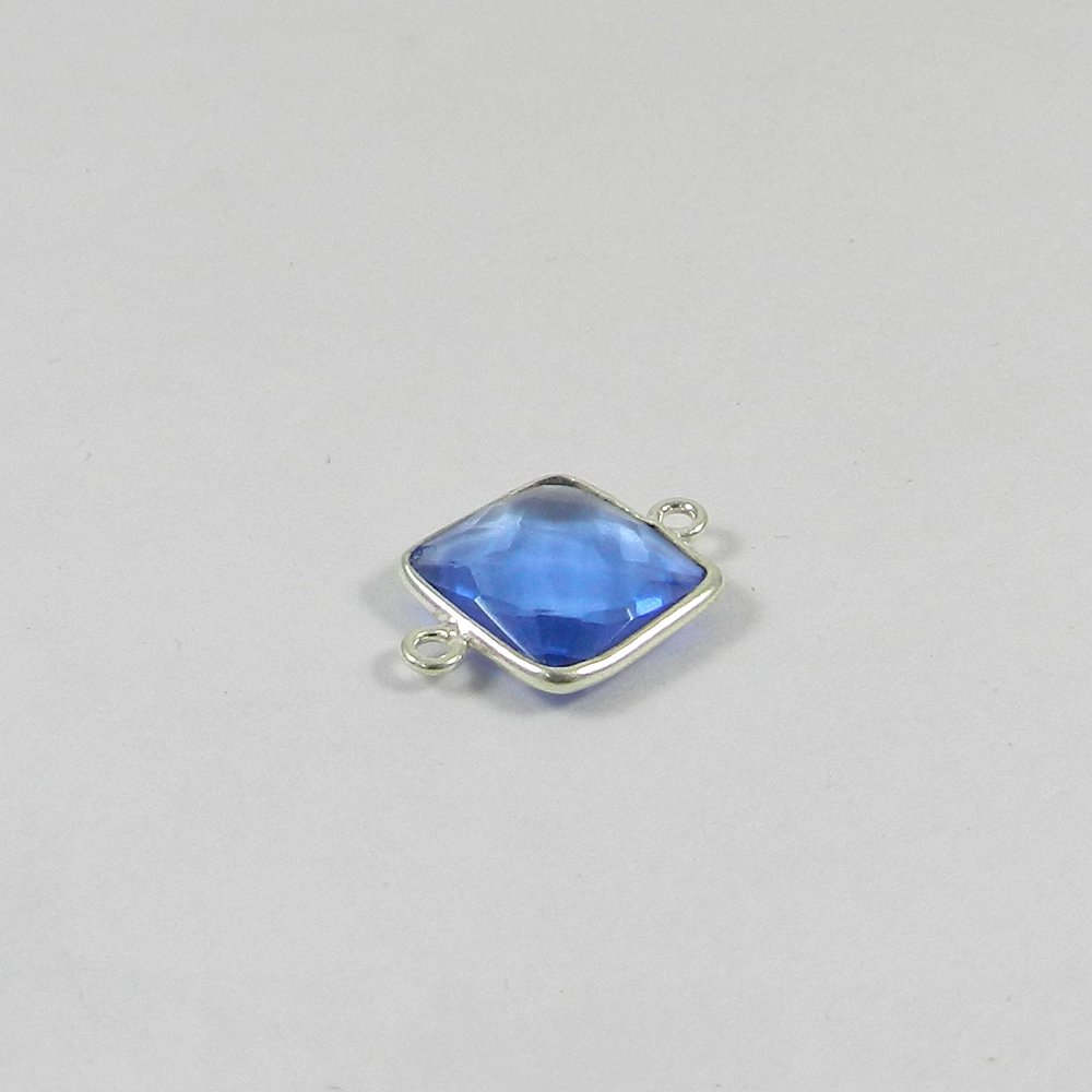 Blue Topaz Hydro Square 19.5x13.5mm 925 Sterling Silver Double Loop Connector