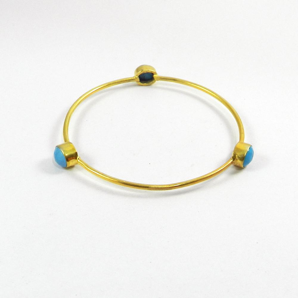 Blue Turquoise Gemstone Gold Plated Designer Bezel Bangle