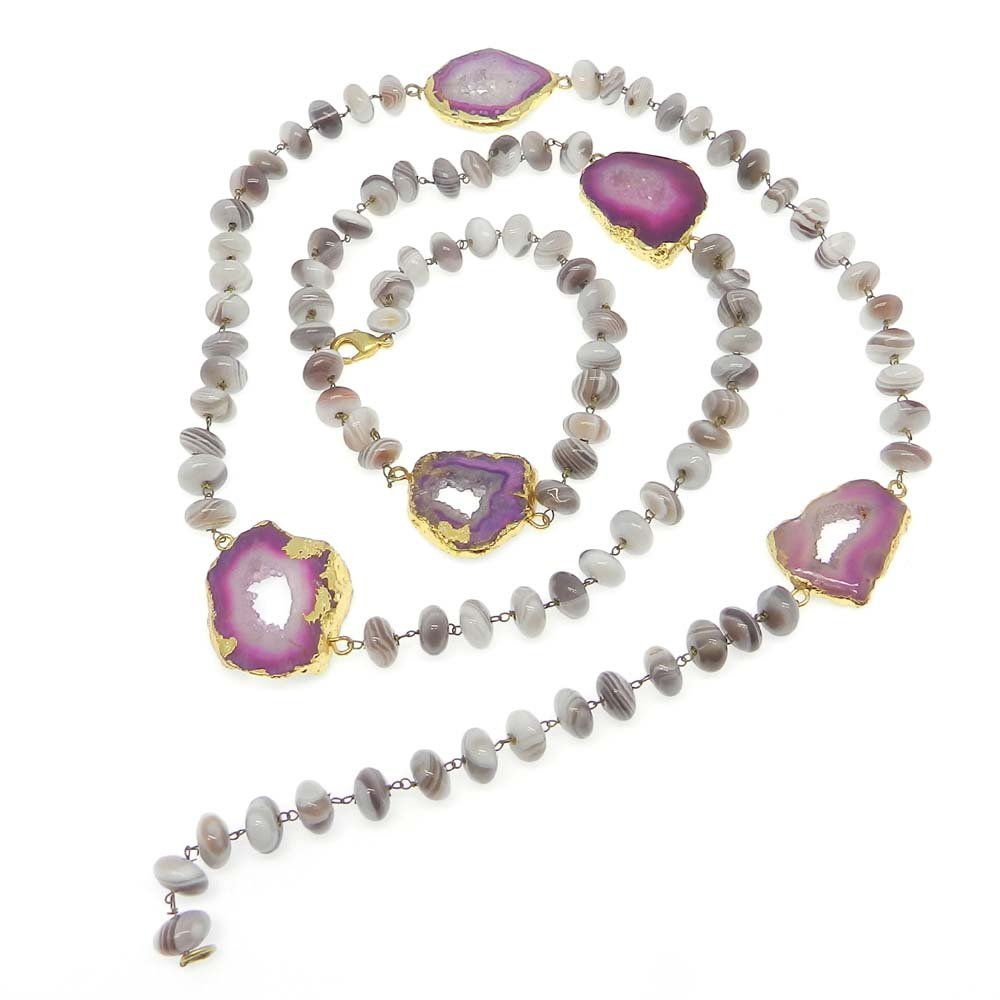 Botswana Agate & Pink Window Druzy Gold Plated Link Chain Beaded Necklace