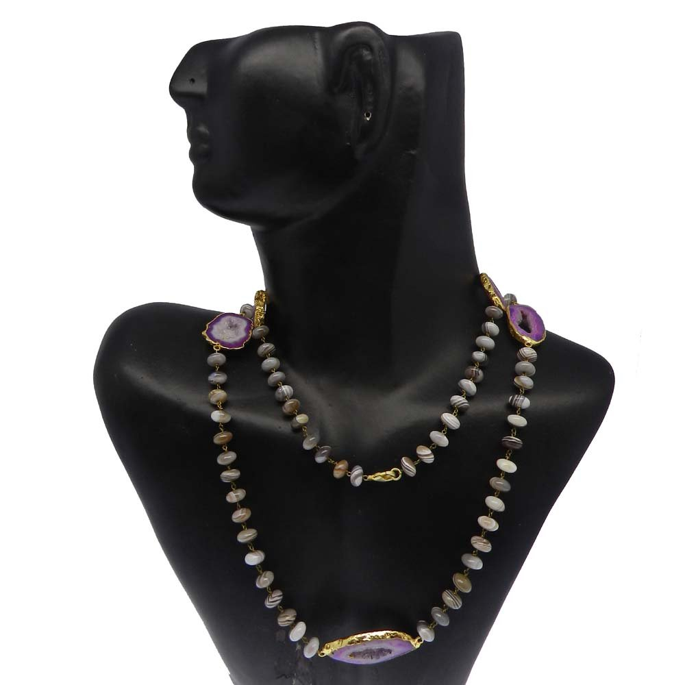 Botswana Agate & Purple Window Druzy Gold Plated Link Chain Beaded Necklace