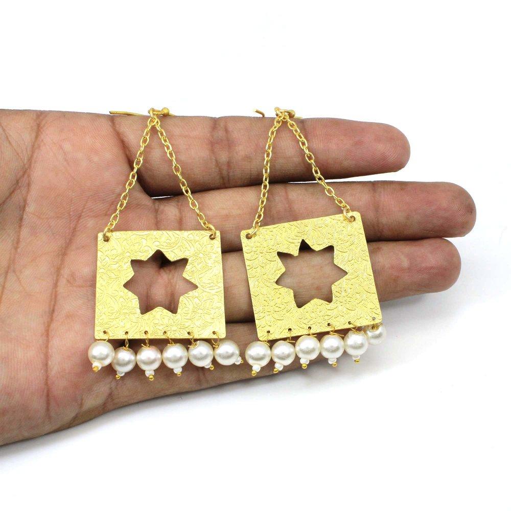 Brass gold plated designer multi pearl drops handmade women earring
