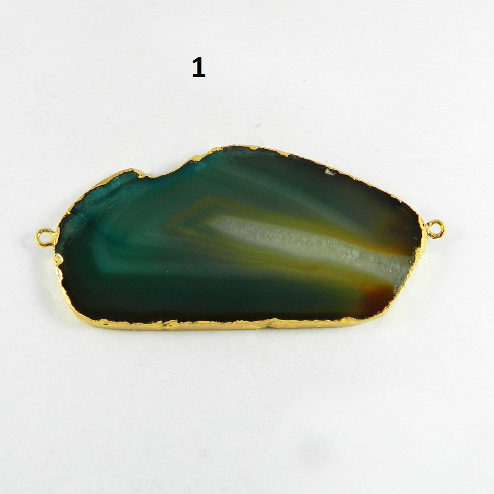 Brazil Agate Slice Uneven Shape Gold Electroplated Double Loop Connector