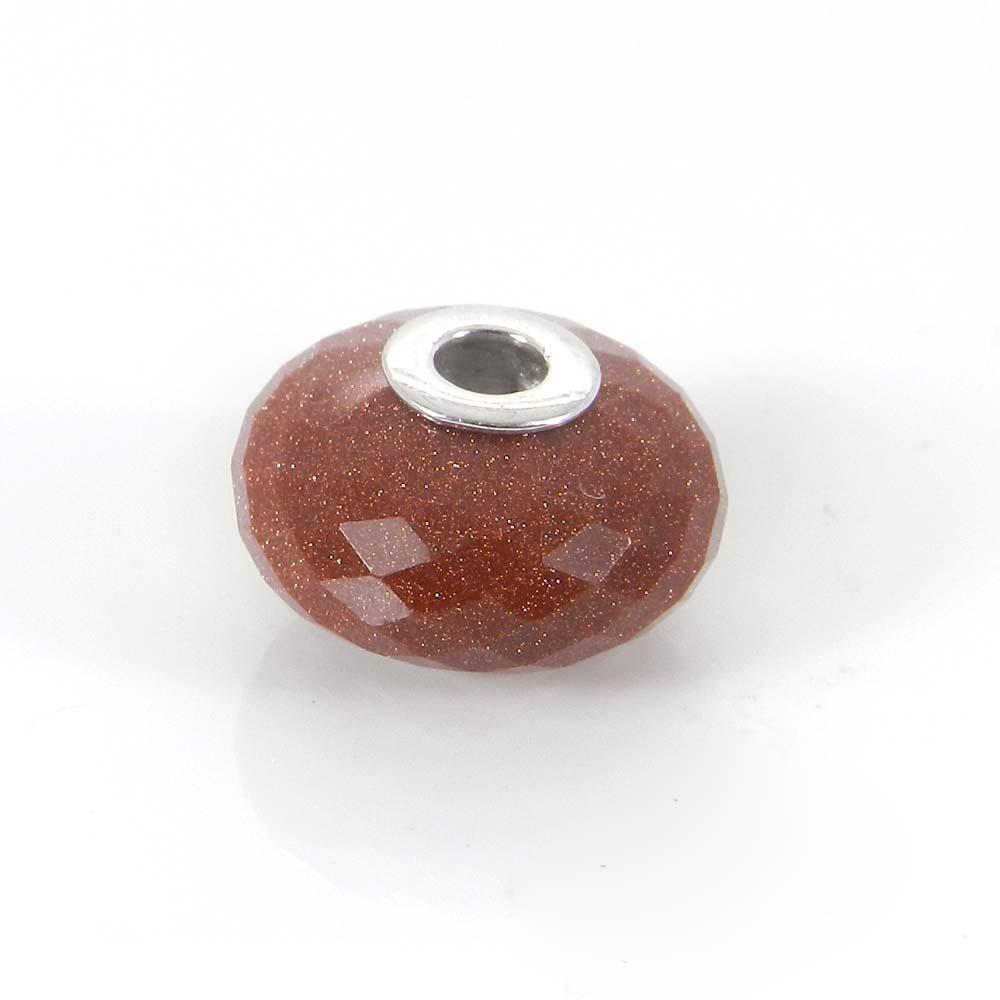 Brown sunstone big hole gemstone silver core beads for bracelet making