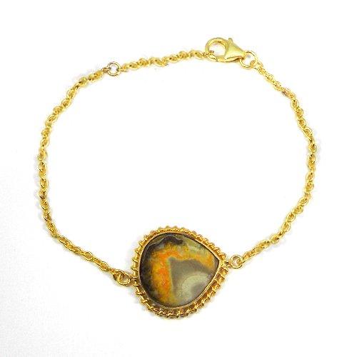 Bumble Bee Jasper 925 Sterling Silver Gold Plated Bezel Set Bracelet