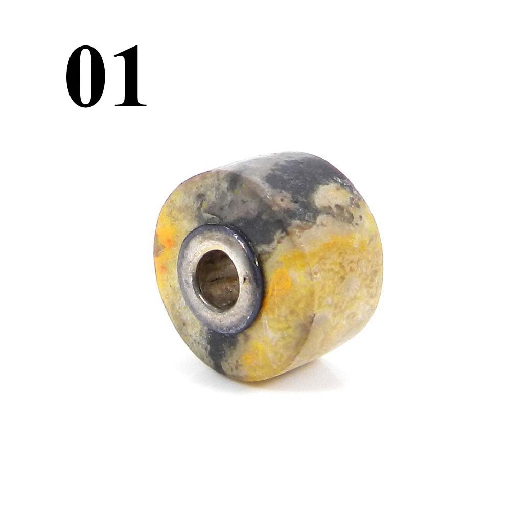 Bumble Bee Jasper Smooth Flat Big Hole Silver Core Beads For Jewelry