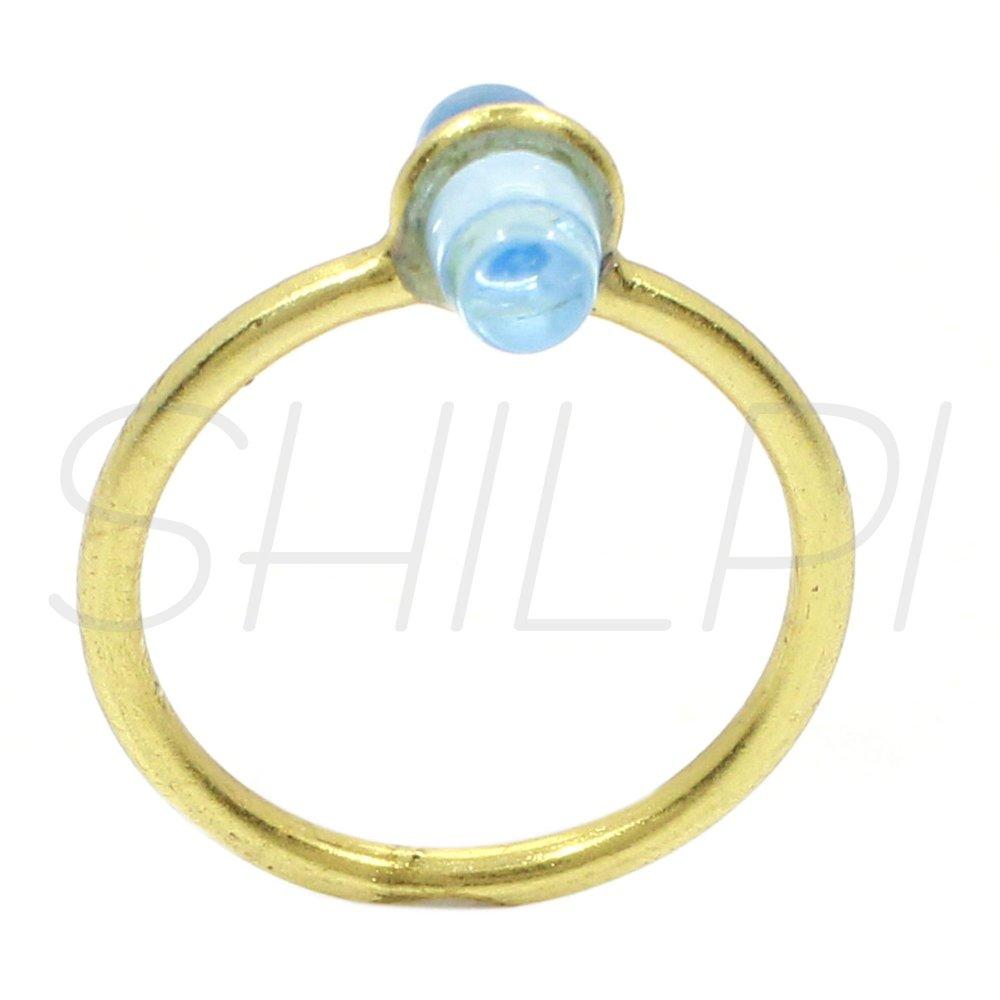 Carroll Blue Topaz Hydro Gold Plated Handmade Simple Ring