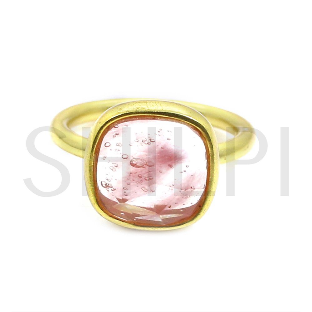Cherry Crackle Glass Gold Plated 925 Sterling Silver Ring