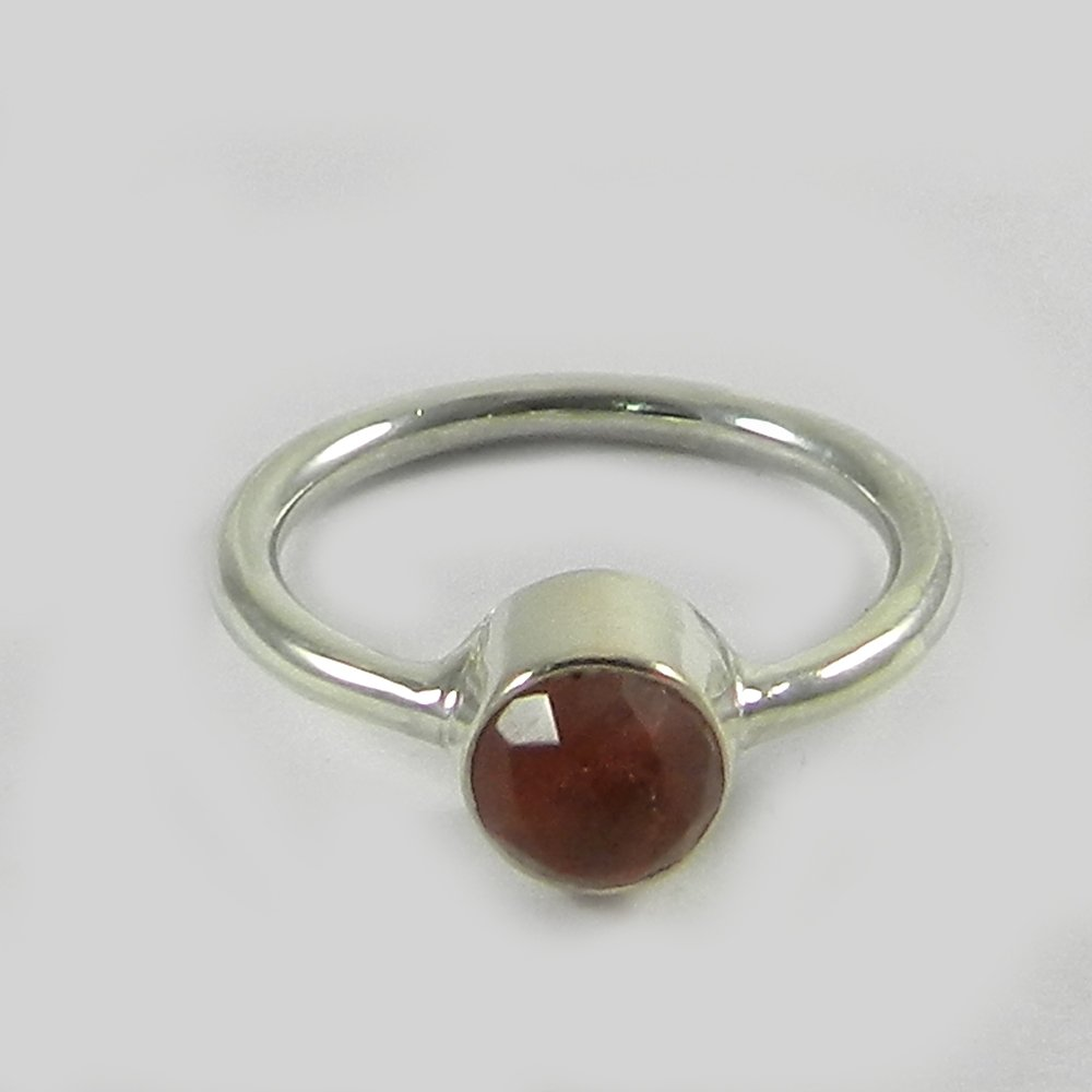 Cherry crackle glass silver bezel ring