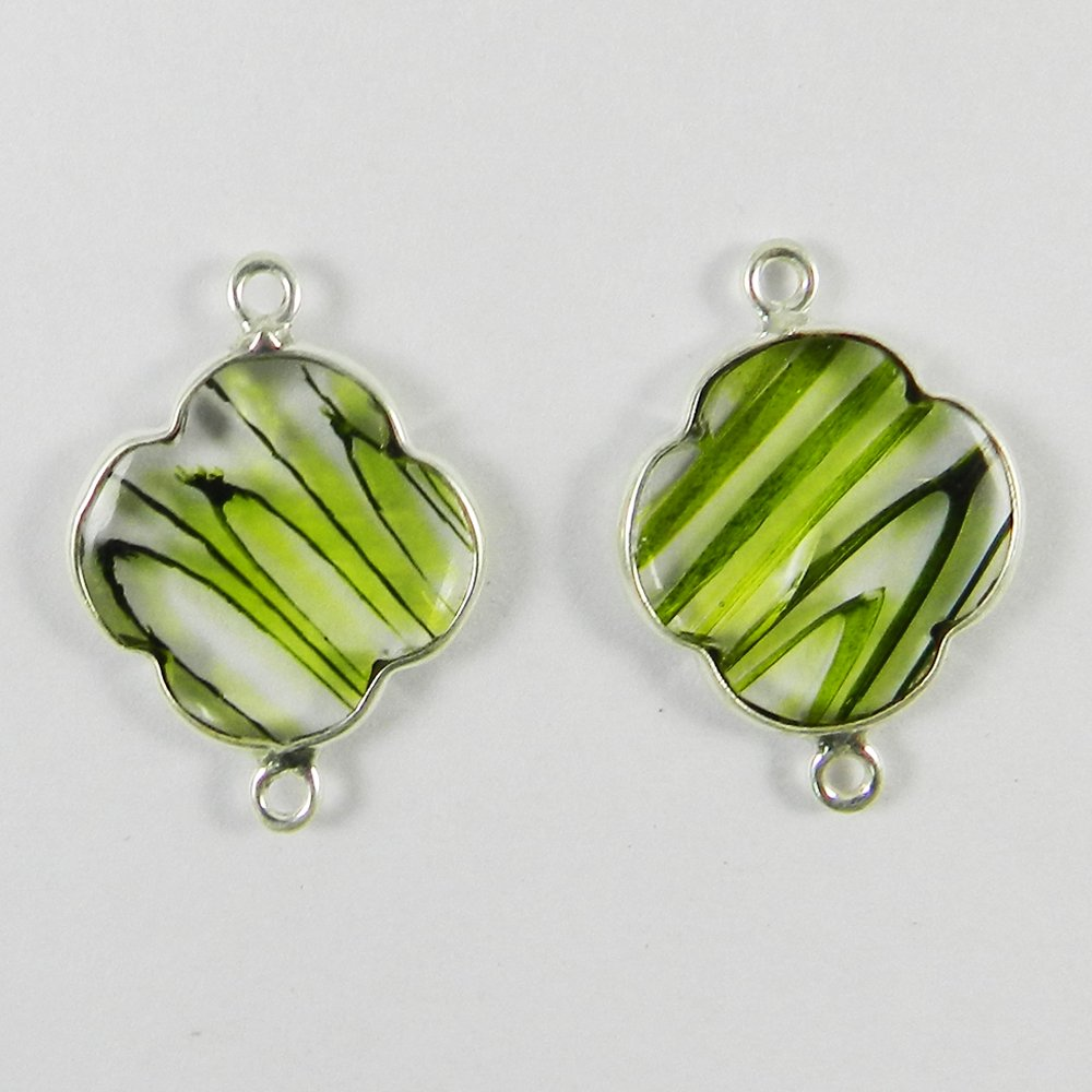 Chinese Green Rutile Clover 24x17mm 925 Sterling Silver Double Loop Connector