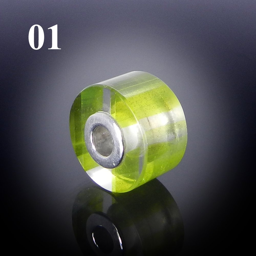 Chinese Green Rutile Smooth Flat Big Hole Silver Core Beads For Jewelry Making