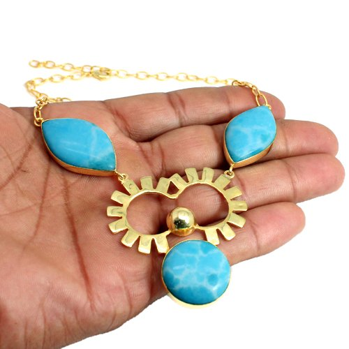 Chinese Larimar Gemstone Necklace Designer Vermeil Necklace Designer Women Necklace Gift For Her