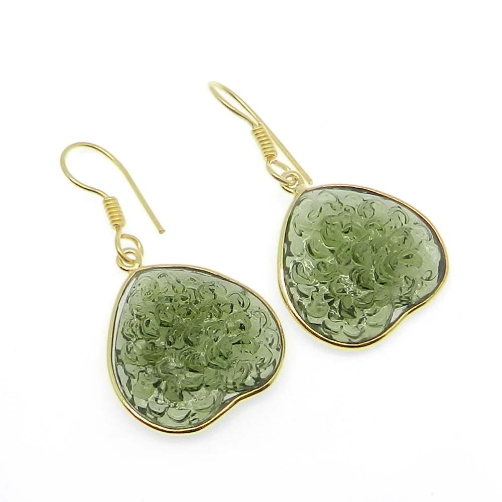 Chinese Moldavite Heart Gold Plated Bezel Dangle Earring