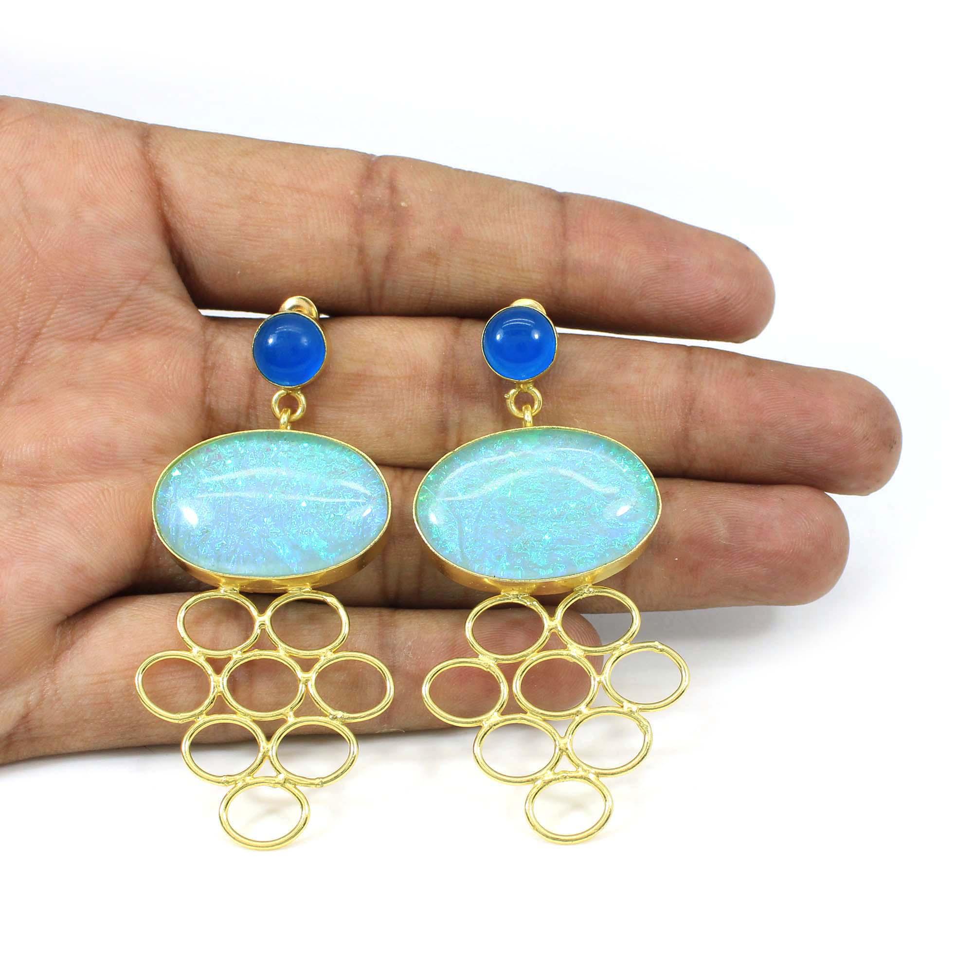 Chinese Opal & Blue Chalcedony Handmade Gold Plated Earrings Classic Earrings