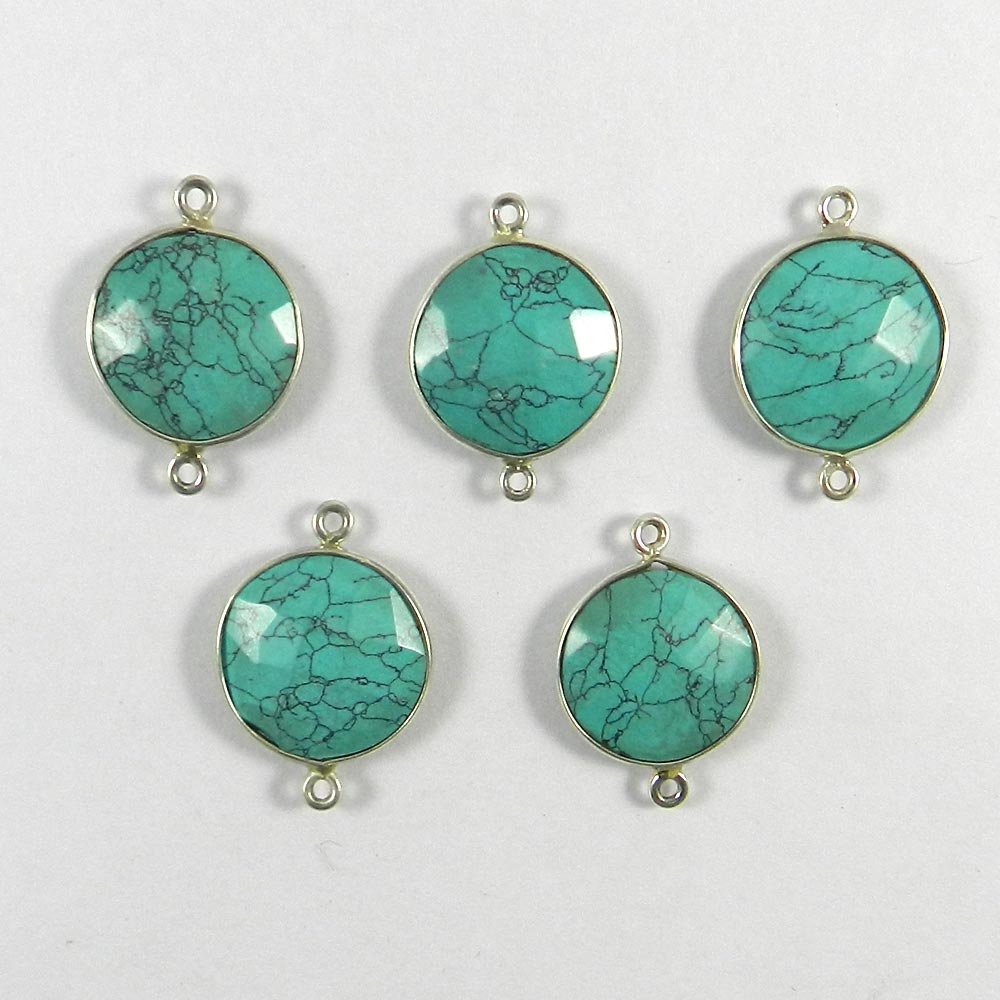 Chinese Turquoise Round 23x16mm 925 Sterling Silver Double Loop Connector