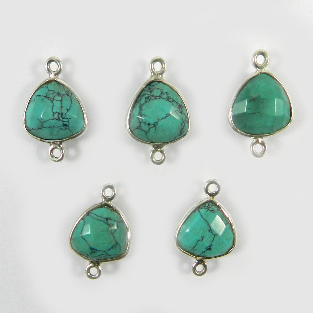 Chinese Turquoise Trillion 17x11mm 925 Sterling Silver Double Loop Connector