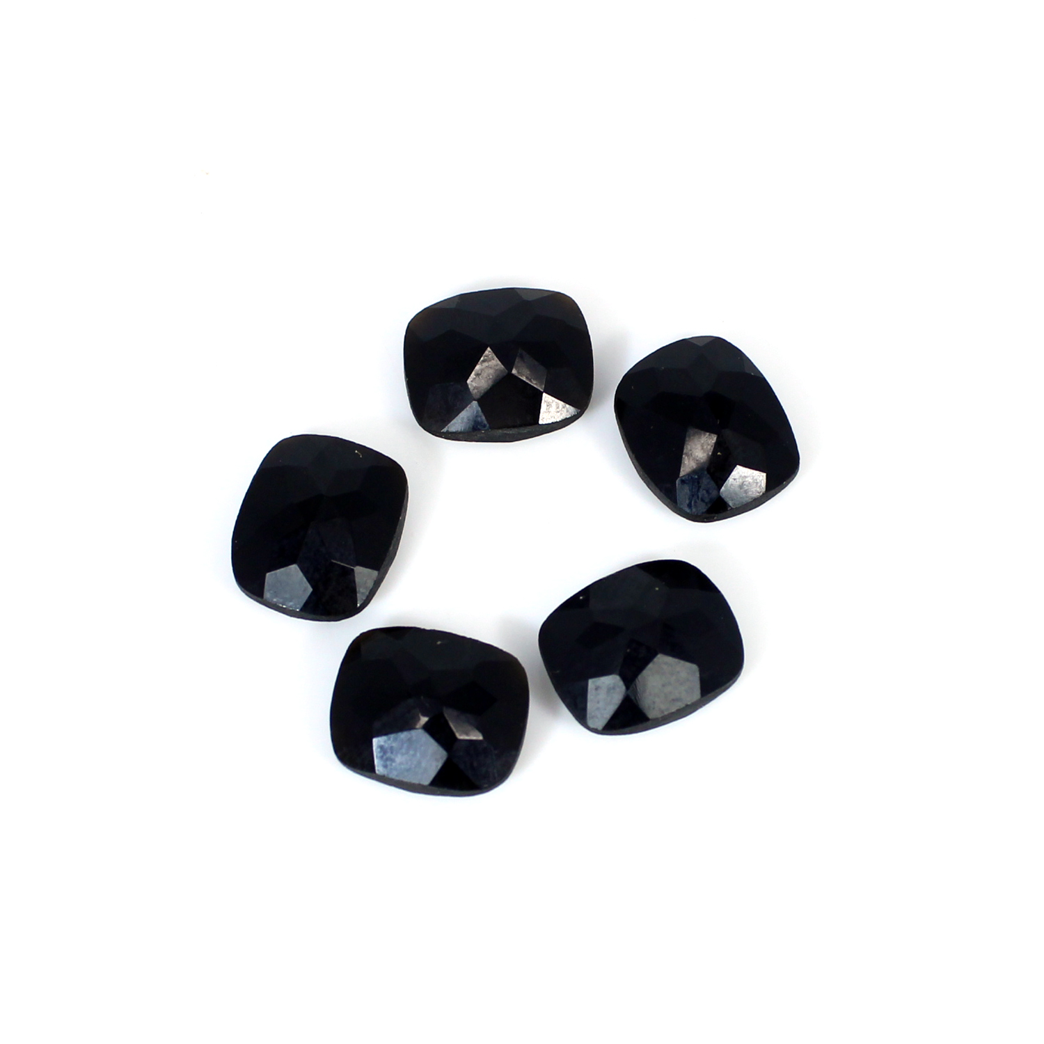 Christmas Offer Natural Black Onyx Cushion Checker Cut 12x10mm 23.4 Cts 5 Pcs Lot Loose Gemstone For Jewelry Making