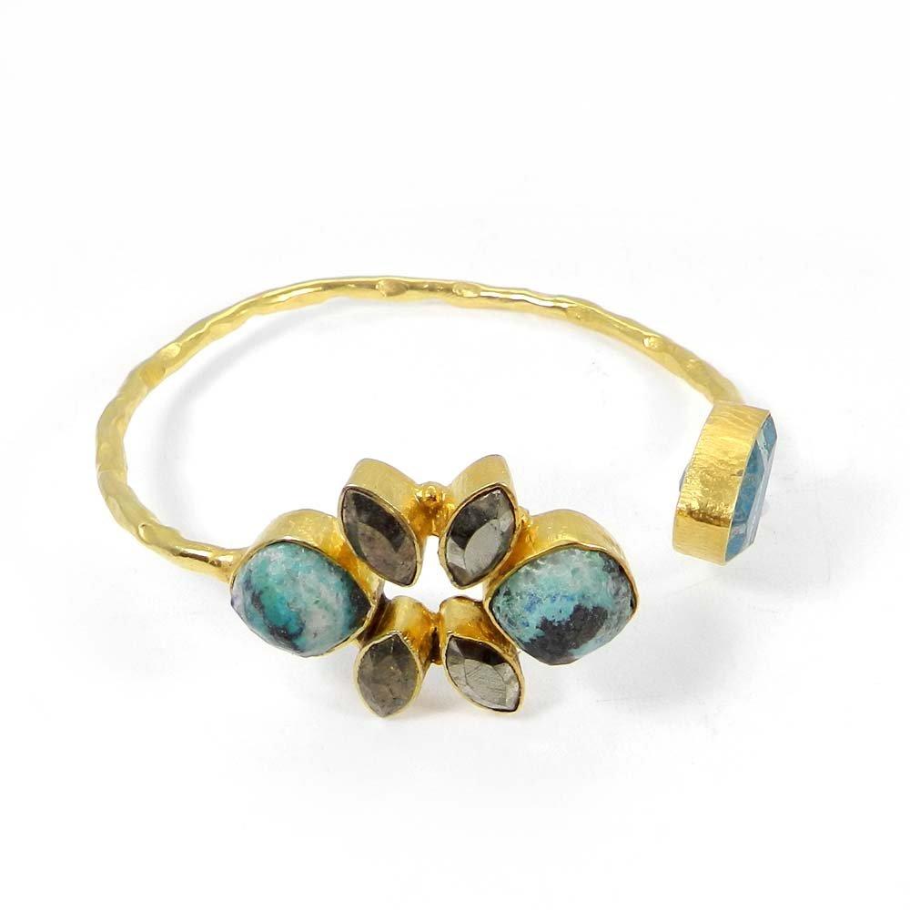 Chrysocolla & Fool's Golden Pyrite Gold Plated Hammered Adjustable Bracelet