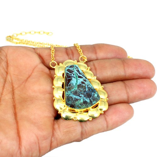 Chrysocolla Gemstone Pendant Necklace Gold Plated Necklace Women Necklace
