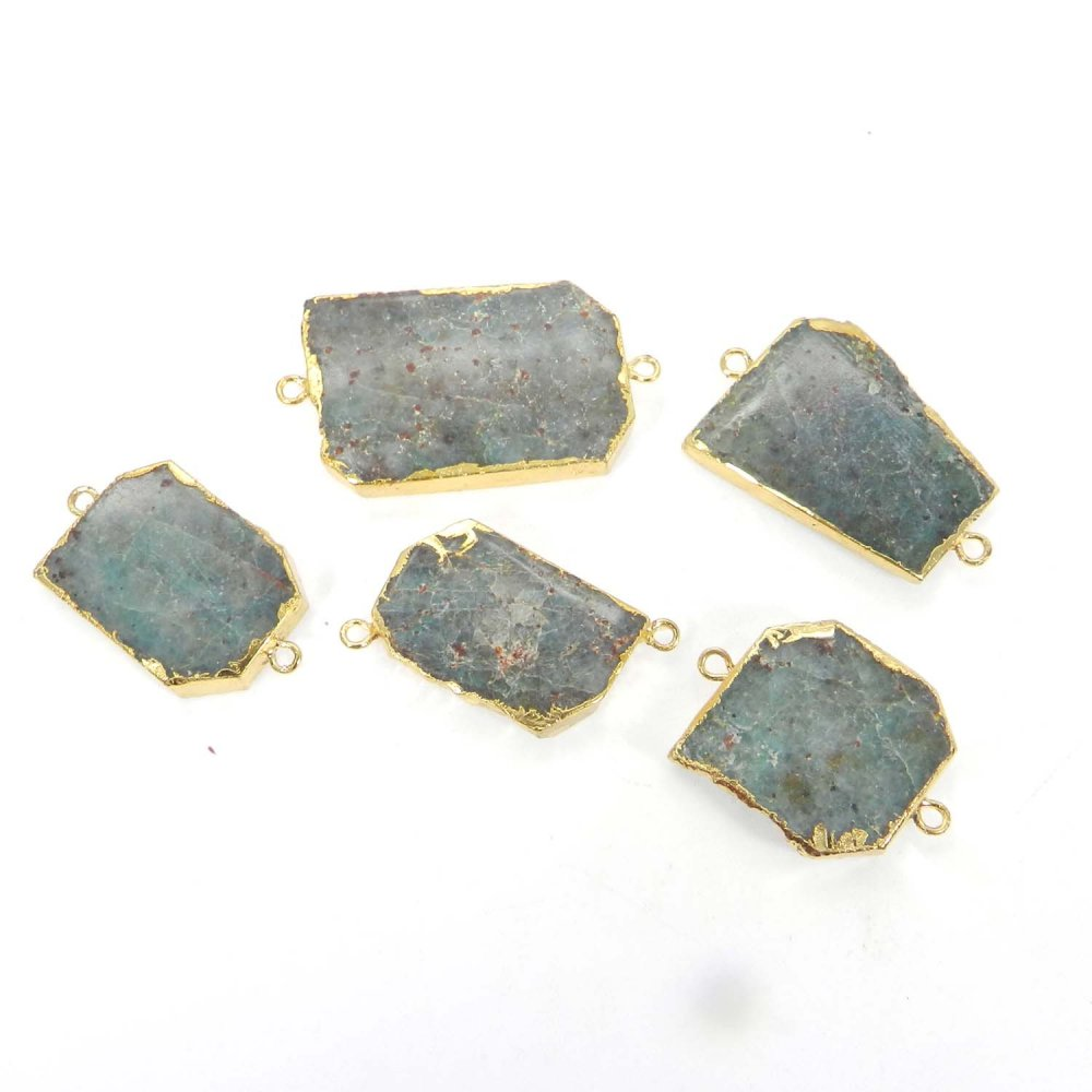 Chrysocolla Uneven Shape Gold Electroplated Double Loop Connector