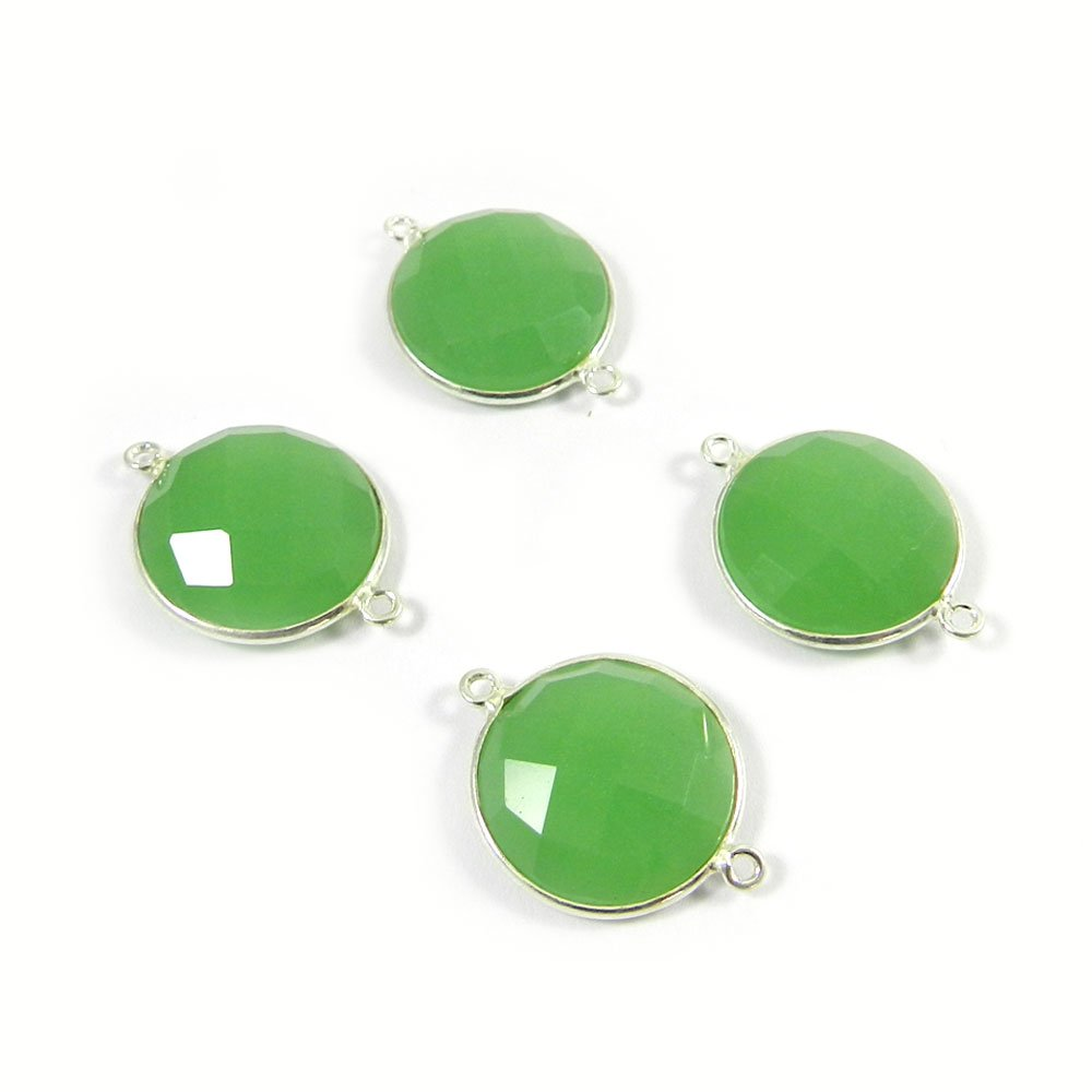 Chrysoprase Hydro Round 25x19mm 925 Sterling Silver Double Loop Connector