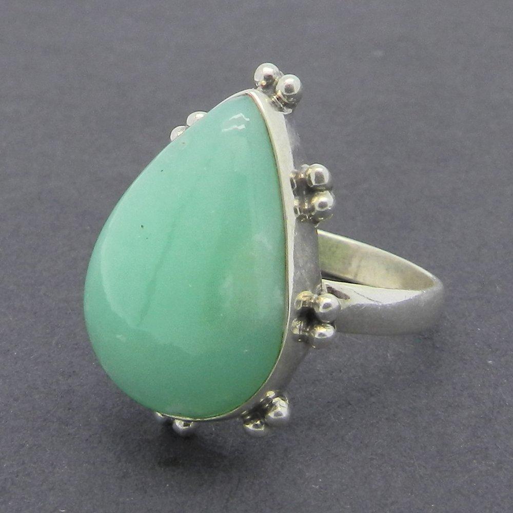 Chrysoprase Pear 925 Sterling Silver Bezel Designer Ring