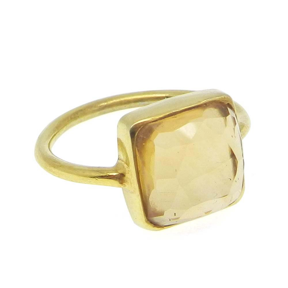 Citrine Hydro 925 Sterling Silver Bezel Set Ring