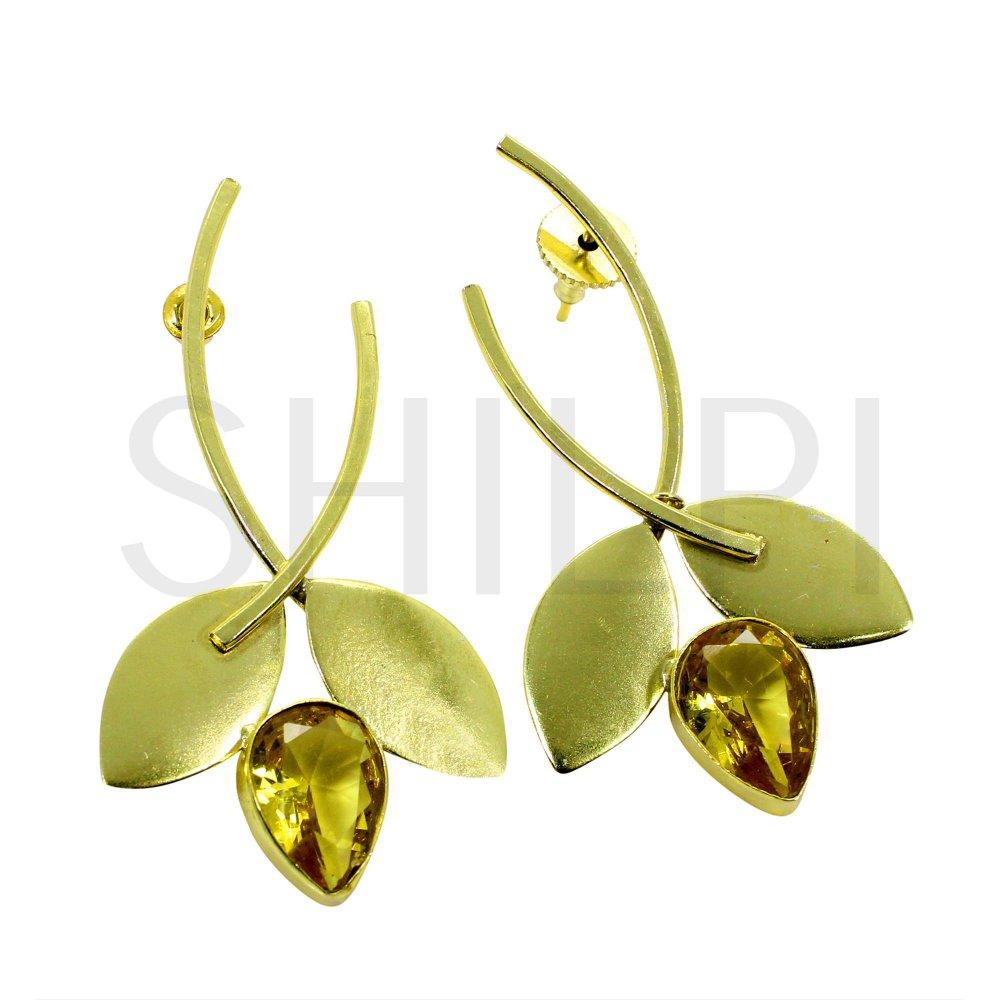 Citrine Hydro Gold Plated Handmade Stud Earrings