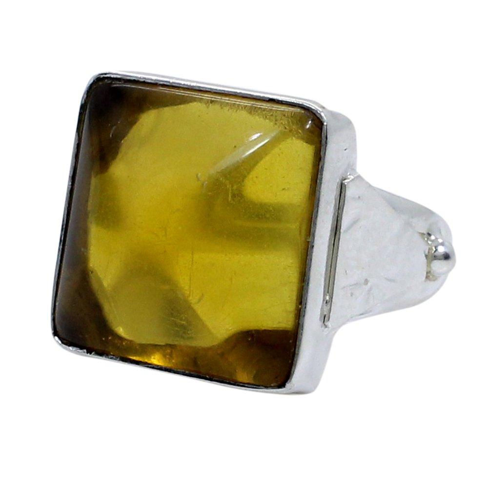 Citrine Hydro Handmade Silver Plated Bezel Set Ring