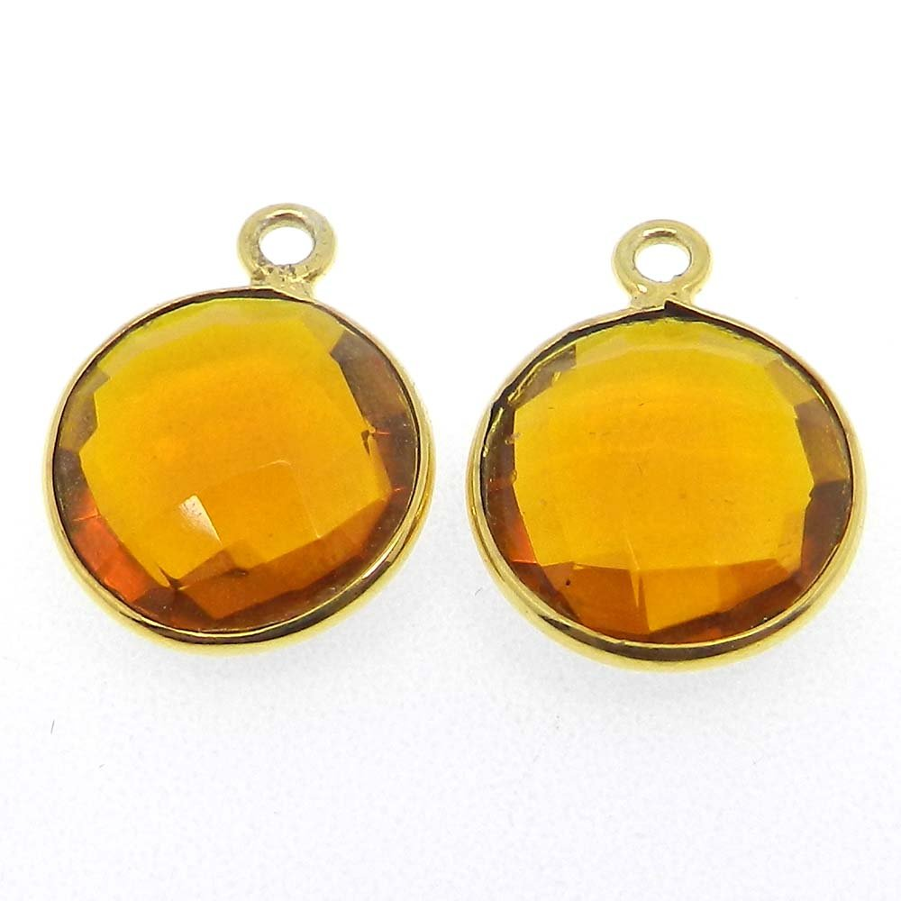 Citrine Hydro Round 16x13mm 925 Sterling Silver Single Loop Connector