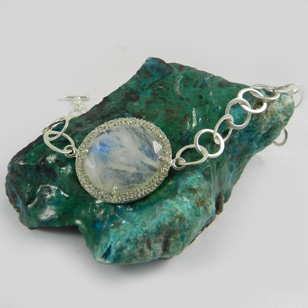 Classic Designer Bracelet Natural Blue Fire Rainbow Moonstone & Cz Gemstone Bracelet Solid 925 Sterling Silver Bracelet Adjustable Link Chain Bracelet Statement Bracelet Gift For Her