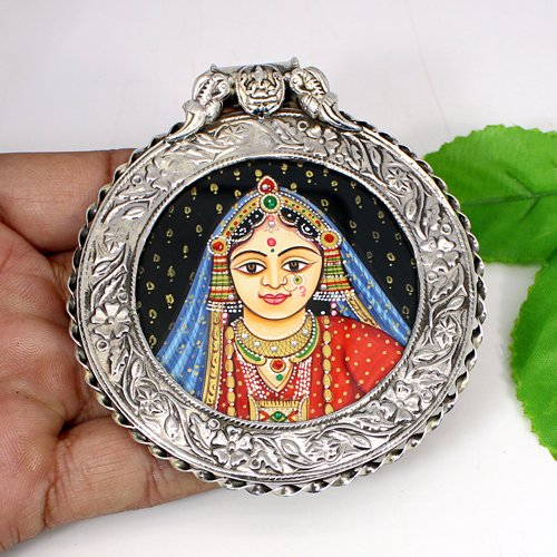 Classic Designer Collection Royal Mughal Queen Pendant Handmade Painting Jewelry Oxidized 925 Sterling Silver Pendant