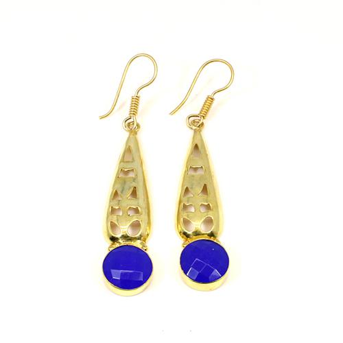 Classic Designer Hanging Dangling Blue Chalcedony Gemstone Dangle Statement Boho Earring Women Cocktail Vermeil Earring